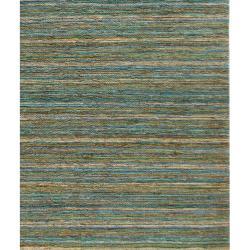 Hand-woven Haneul-03 Blue Hemp Rug (5' x 8')