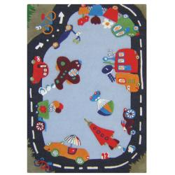 nuLOOM Hand-carved Kids Manhattan City Road Blue Wool Rug (3'6 x 5'6)