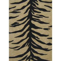 nuLOOM Handmade Prive Natural Zebra Carved Wool/ Jute Rug (7'6 x 9'6)