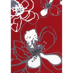 nuLOOM Handmade Prive Red Floral Pattern Wool Rug (7'6 x 9'6)