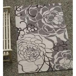 nuLOOM Handmade Prive Grey Rose Pattern Floral Wool Rug (5' x 8')