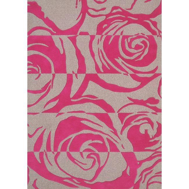 nuLOOM Handmade & Hand-carved Prive Fuchsia Rose Wool Rug (7'6 x 9'6)