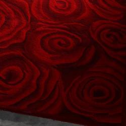nuLOOM Handmade & Hand-carved Prive Red Rose Wool Rug (5' x 8')