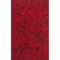 nuLOOM Handmade & Hand-carved Prive Red Rose Wool Rug (5' x 8')