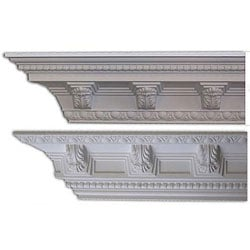 Baroque-style 5 3/8-inch Acanthus Medallion Crown Molding (Pack of 8)