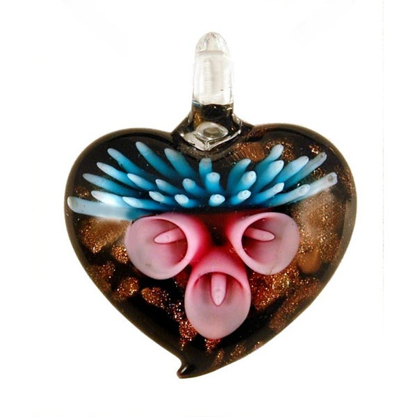 Handmade Fade-resistant Glass Lily Heart Pendant 7492537