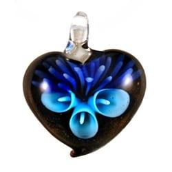Murano Inspired Glass Aqua Blue Flower with Purple Heart Pendant