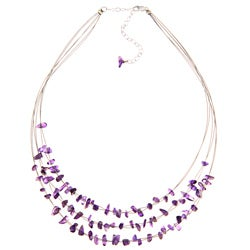 Glitzy Rocks Sterling Silver Amethyst Chip 3-row Necklace