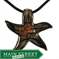 Murano Inspired Glass Black, Silver and Gold Star Pendant