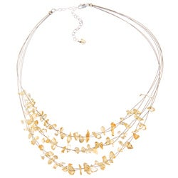Glitzy Rocks Sterling Silver Citrine Chip 3-row Necklace
