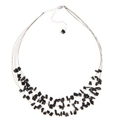 Glitzy Rocks Sterling Silver Onyx Chip 3-row Necklace