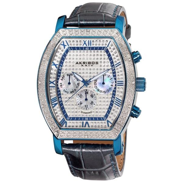 Akribos XXIV Men's Multifunction Diamond Tonneau Swiss Quartz Watch