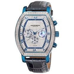 Akribos XXIV Men's Multifunction Diamond Tonneau Swiss Quartz Watch