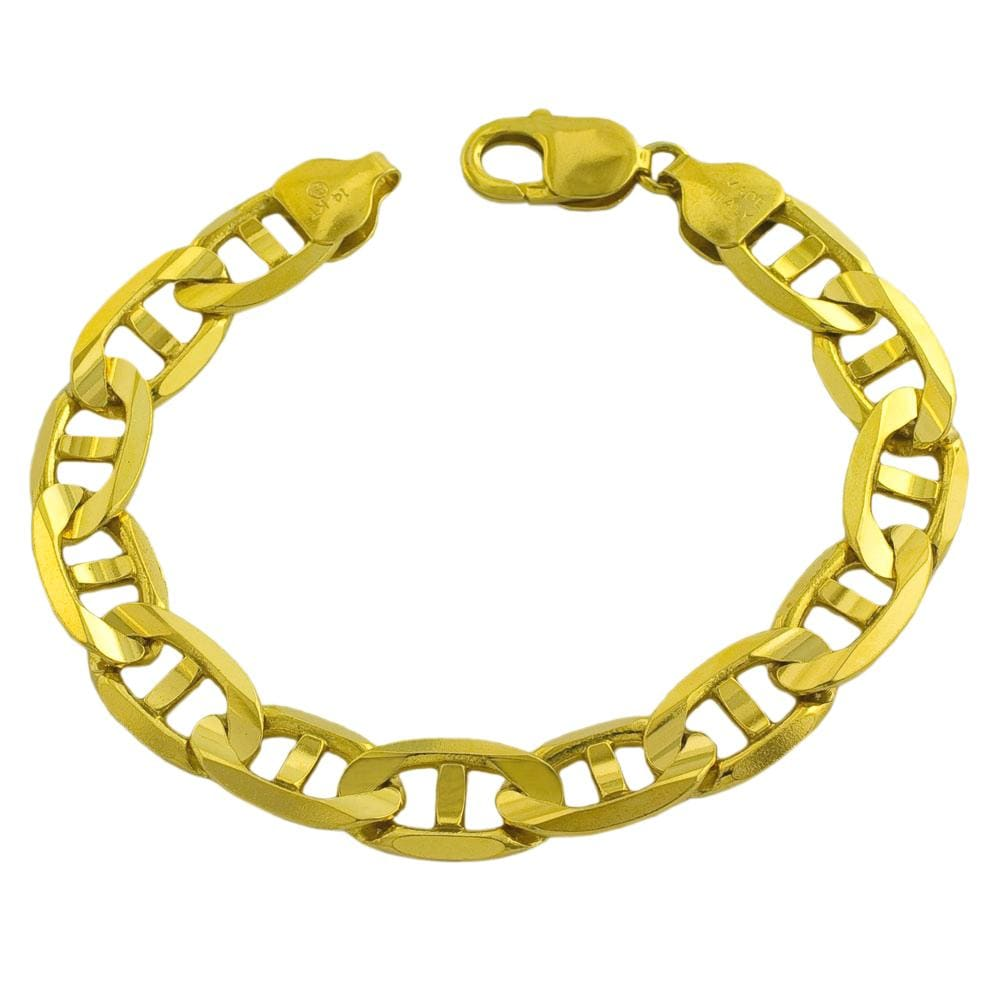 Fremada 14k Yellow Gold Men's Solid 8.5-inch Mariner Link Bracelet