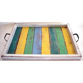 Handmade Recycled Wood Small Multi-colored Serving Tray (Thailand)
