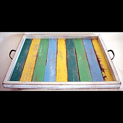 Large Multi-colored Recycled Wood Serving Tray (Thailand)