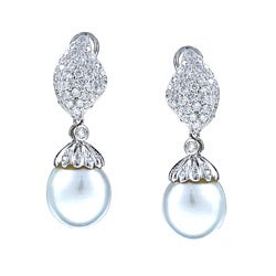 Kabella 18K White Gold Estate Vintage South Sea Pearl and 1 7/8ct TDW Diamond Earrings (13 mm) (H-I, SI2)