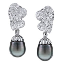 Kabella 18k White Gold Tahitian Pearl and 7/8ct TDW Diamond Earrings (11 mm) (H-I, SI2)