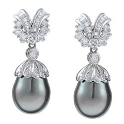 Kabella 18k White Gold Tahitian Pearl and 1 2/5ct TDW Diamond Earrings (11 mm) (G-H, SI2)