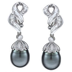 Kabella 18k White Gold Tahitian Pearl and 1 1/6ct TDW Diamond Earrings (11-12 mm) (G-H, SI2)