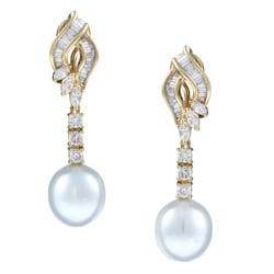 Kabella 18k Gold South Sea Pearl and 1 2/5ct TDW Diamond Earrings (11 mm) (H-I, I1-I2)