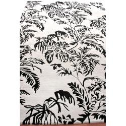 nuLOOM Handmade Modern Premium Wool Grey Tropical Palms Rug (5' x 8')