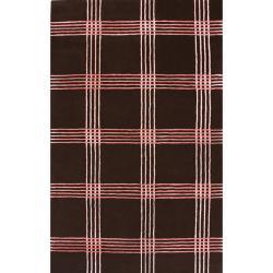 nuLOOM Handmade Modern Premium Wool Brown Casual Stripe Rug (7'6 x 9'6)