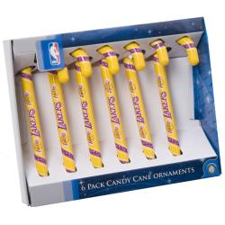 Los Angeles Lakers Plastic Candy Cane Ornament Set