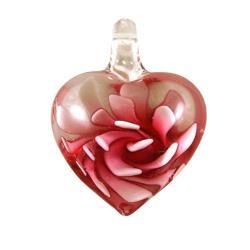 Murano-inspired Glass Pink Flower Heart Pendant