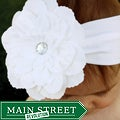 Headbandz Unique White Flower with Headband
