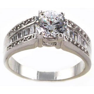 NEXTE Jewelry Silvertone Clear Cubic Zirconia High Rise Clique Ring