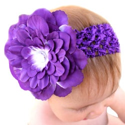 Headbandz Unique Purple Flower with Crochet or Polyester Headband