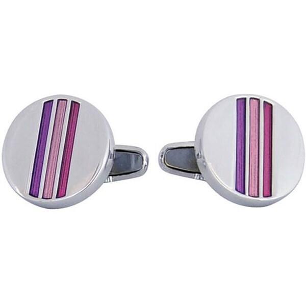 Cuff Daddy Silvertone Striped Pink Enamel Cuff Links