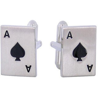 Cuff Daddy Silvertone Ace of Spades Cuff Links