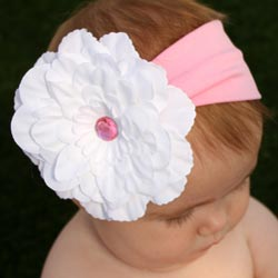 Headbandz Unique White Flower with Pink Rhinestone