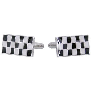 Cuff Daddy Rhodium Silver Checker Cufflinks