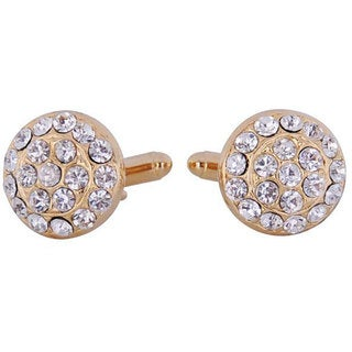 Cuff Daddy Goldtone Crystal Cluster Cuff Links