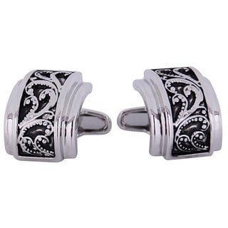 Cuff Daddy Rhodium SOHO Floral Cufflinks