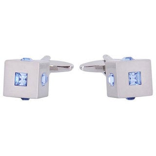 Cuff Daddy Silvertone Blue Crystal Cubic Cuff Links