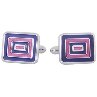 Cuff Daddy Silvertone Blue and Pink Enamel Cuff Links