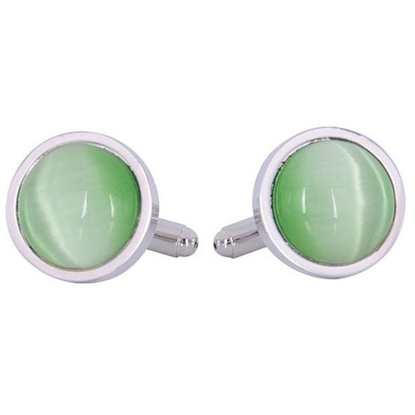 Cuff Daddy Silvertone Green Catseye Cuff Links