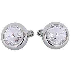 Cuff Daddy Silvertone Crystal Inlay Cuff Links