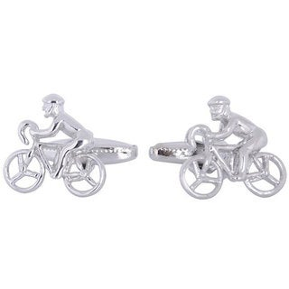 Cuff Daddy Rhodium Silver Cycling Cufflinks