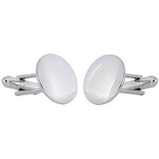Cuff Daddy Rhodium silver Convex Mirror Cufflinks