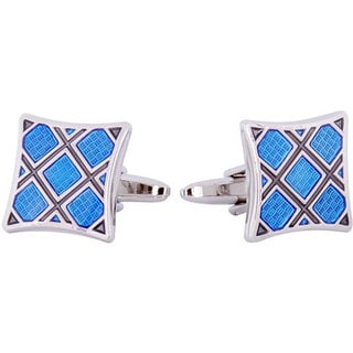 Cuff Daddy Silvertone Blue Plaid Enamel Cuff Links