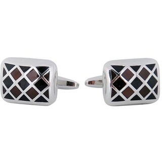 Cuff Daddy Silvertone Brown and Black Enamel Cuff Links