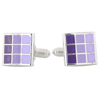 Cuff Daddy Rhodium Silver Purple Cufflinks