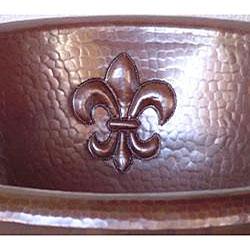 Round Vintage Bronze Copper Fleur de Lis 15-inch Sink