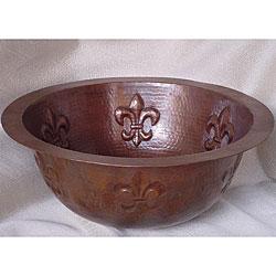 Round Bronzed Copper Fleur de Lis Undermount 15-inch Sink