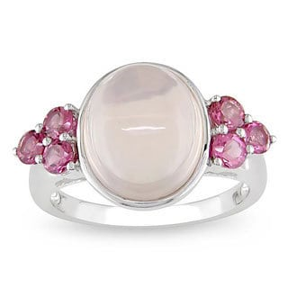 Miadora 10k Gold Enhanced Rose Quartz and Pink Tourmaline Fashion Ring